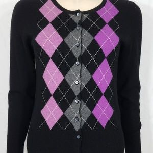 Apt. 9 black purple argyle Cashmere cardigan Small